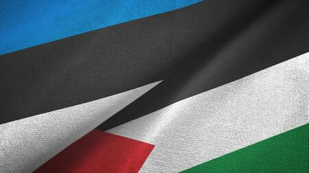 Estonia and Palestine two folded flags together