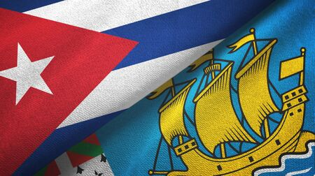 Cuba and Saint Pierre and Miquelon two folded flags together
