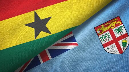 Ghana and Fiji two folded flags together