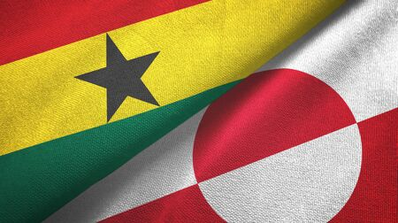 Ghana and Greenland two folded flags together