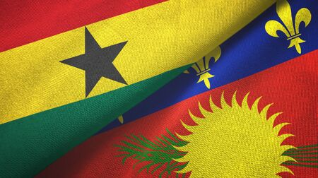 Ghana and Guadeloupe two folded flags together