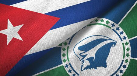 Cuba and Martinique two folded flags together