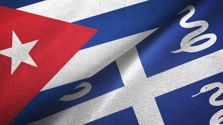 Cuba and Martinique snake two folded flags together