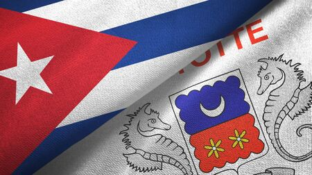 Cuba and Mayotte two folded flags together