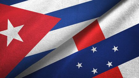 Cuba and Netherlands Antilles two folded flags together Zdjęcie Seryjne