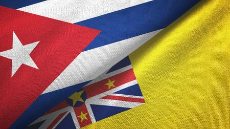 Cuba and Niue two folded flags together