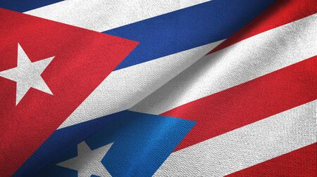 Cuba and Puerto Rico two folded flags together Zdjęcie Seryjne