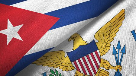 Cuba and Virgin Islands United States two folded flags together Zdjęcie Seryjne