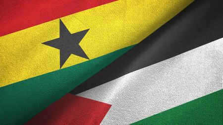 Ghana and Palestine two folded flags together