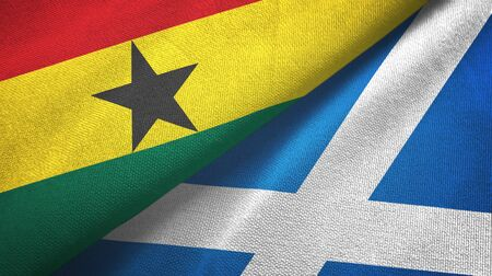 Ghana and Scotland two folded flags together