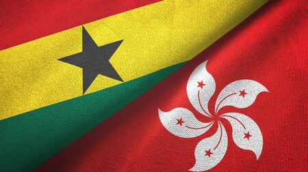 Ghana and Hong Kong two folded flags together