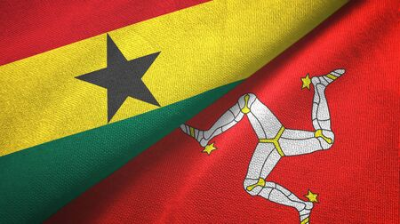 Ghana and Isle of Mann two folded flags together
