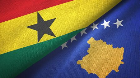 Ghana and Kosovo two folded flags together