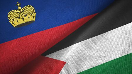 Liechtenstein and Palestine two folded flags together