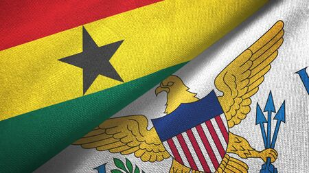 Ghana and Virgin Islands United States two folded flags together 스톡 콘텐츠