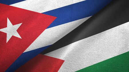 Cuba and Palestine two folded flags together 스톡 콘텐츠