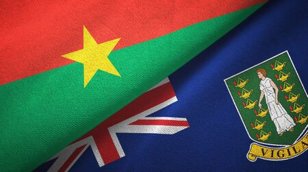 Burkina Faso and Virgin Islands British two folded flags together 스톡 콘텐츠