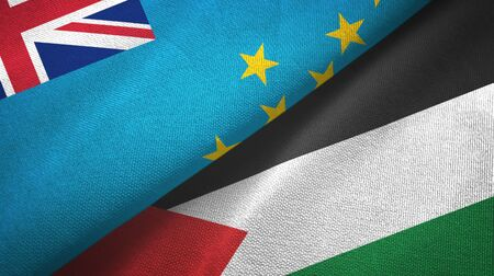 Tuvalu and Palestine two folded flags together 스톡 콘텐츠