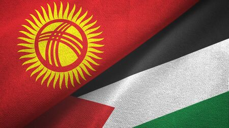 Kyrgyzstan and Palestine two folded flags together