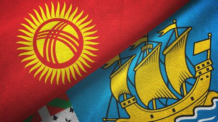 Kyrgyzstan and Saint Pierre and Miquelon two folded flags together