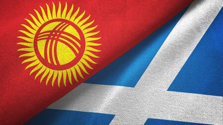Kyrgyzstan and Scotland two folded flags together Imagens