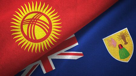 Kyrgyzstan and Turks and Caicos Islands two folded flags together