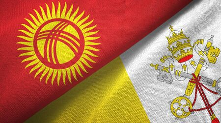 Kyrgyzstan and Vatican two folded flags together