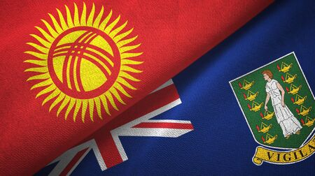 Kyrgyzstan and Virgin Islands British two folded flags together Imagens