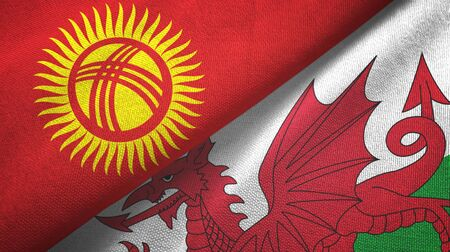 Kyrgyzstan and Wales two folded flags together