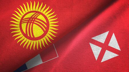 Kyrgyzstan and Wallis and Futuna two folded flags together Imagens