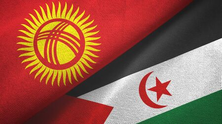 Kyrgyzstan and Western Sahara two folded flags together