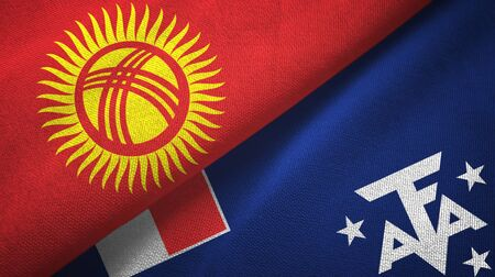 Kyrgyzstan and French Southern and Antarctic Lands two folded flags together Imagens