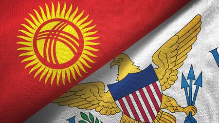 Kyrgyzstan and Virgin Islands United States two folded flags together Imagens