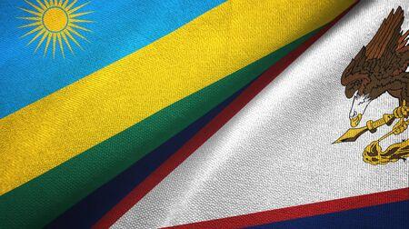 Rwanda and American Samoa two folded flags together