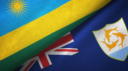 Rwanda and Anguilla two folded flags together