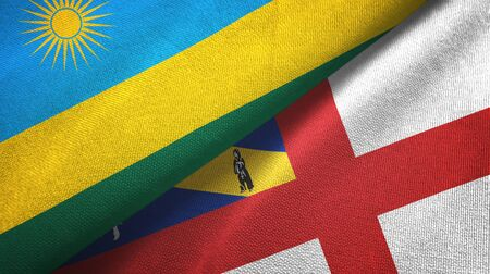 Rwanda and Herm two folded flags together Imagens