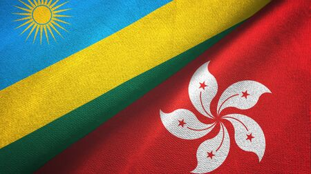 Rwanda and Hong Kong two folded flags together Imagens