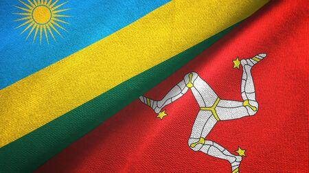 Rwanda and Isle of Mann two folded flags together