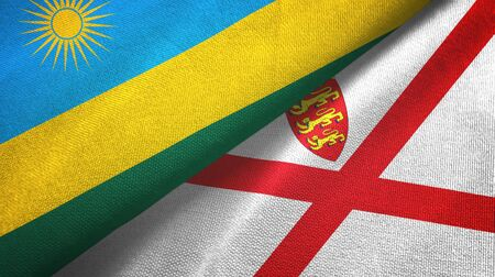 Rwanda and Jersey two folded flags together