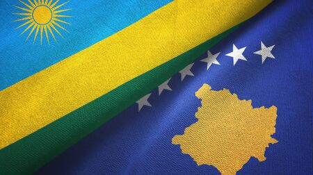 Rwanda and Kosovo two folded flags together Imagens