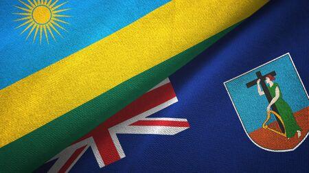 Rwanda and Montserrat two folded flags together Imagens