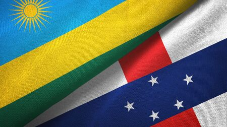 Rwanda and Netherlands Antilles two folded flags together