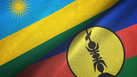 Rwanda and New Caledonia two folded flags together