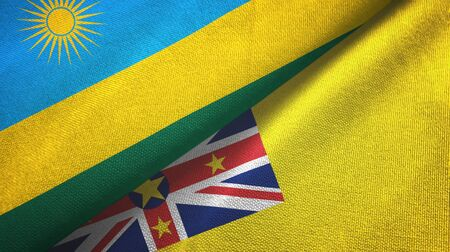 Rwanda and Niue two folded flags together