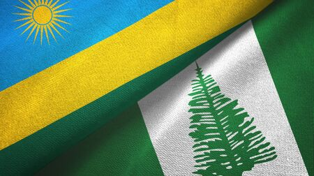Rwanda and Norfolk Island two folded flags together Imagens