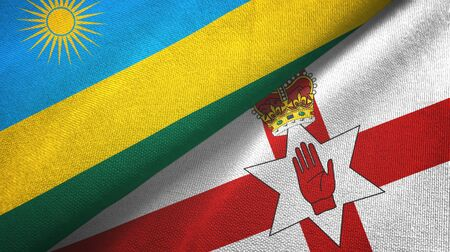 Rwanda and Northern Ireland two folded flags together Imagens