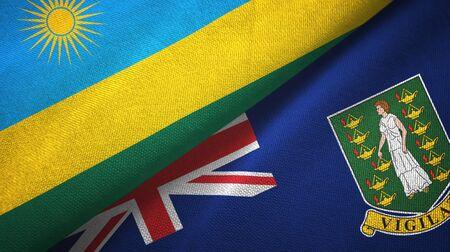 Rwanda and Virgin Islands British two folded flags together