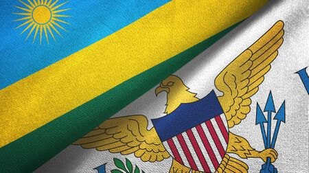 Rwanda and Virgin Islands United States two folded flags together Imagens