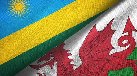 Rwanda and Wales two folded flags together