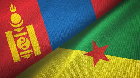 Mongolia and French Guiana two folded flags together